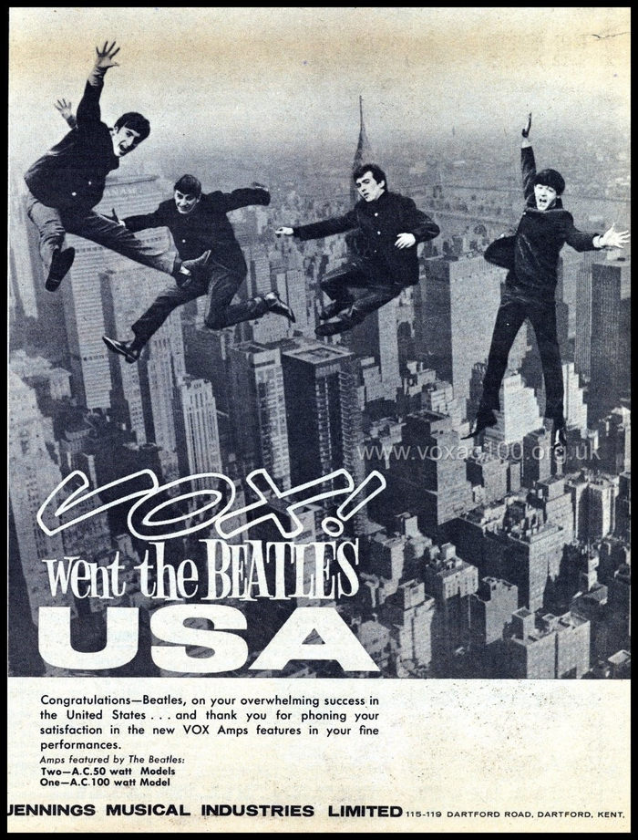First Vox advert for the Beatles in America, February 1964