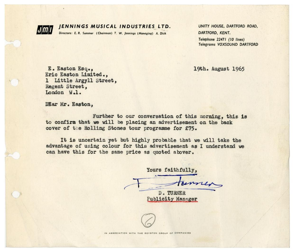 Jennings Musical Industries letter, 1965