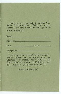 Vox Pocket Reference Guide, Thomas Organ, late 1965
