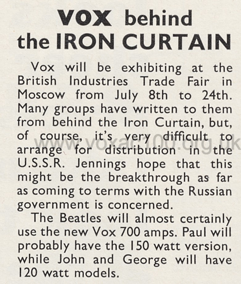 Beat Instrumental magazine, April 1967, Vox 7-series amps