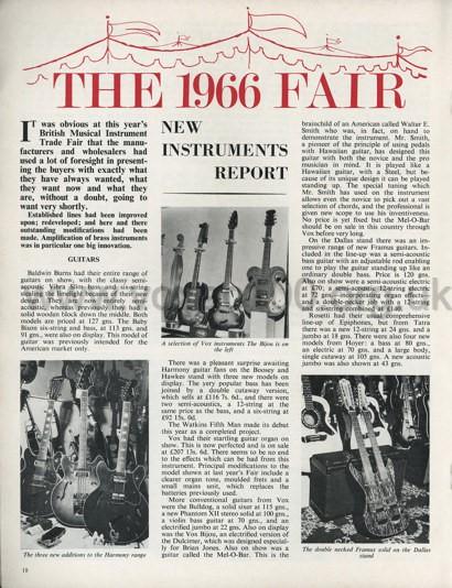 Beat Instrumental magazine, October, 1966, the British Musical Instrument Industries Fair, August, 1966