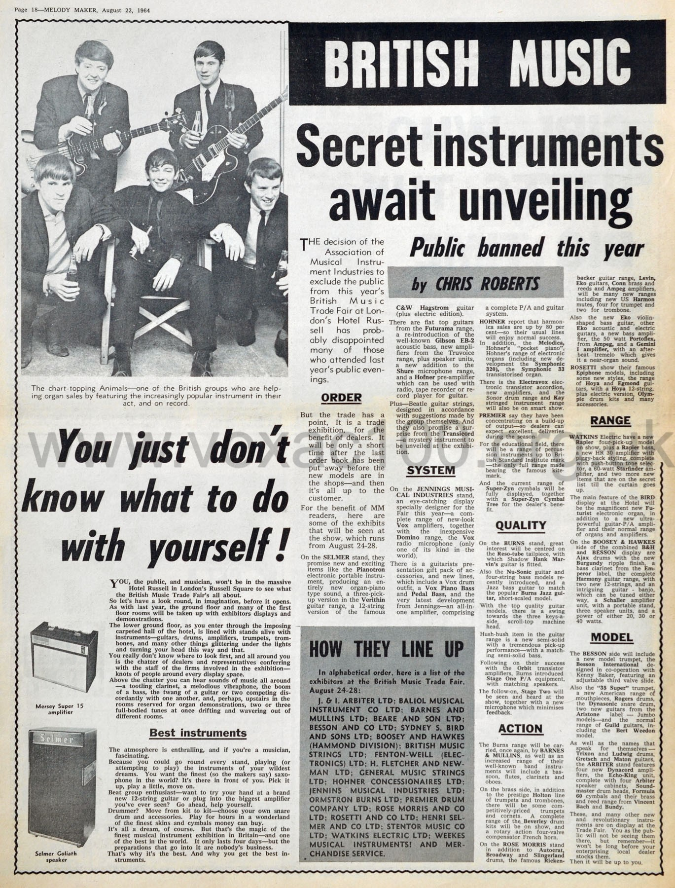 Melody Maker magazine, 22 August 1964, review of the British Musical Instrument Industries (AMII) Trade Fair