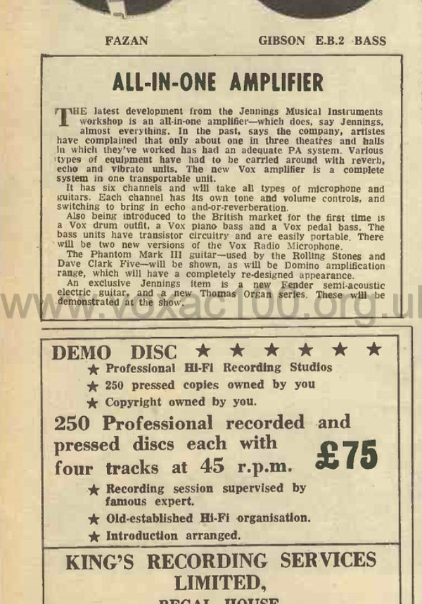 Record Mirror, August 1964, British Musical Instrument Industries Fair