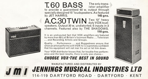 JMI adverts for Vox in Beat Monthly magazine. 1963-1965