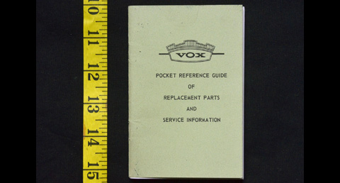 Vox Pocket Reference Guide, late 1965 or early 1966